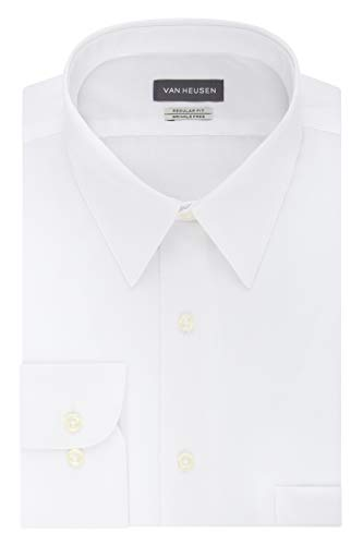 Van Heusen Men's Poplin Regular Fit Solid Point Collar Dress Shirt, White, 17' Neck 32'-33' Sleeve