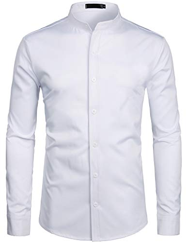 ZEROYAA Mens Hipster Solid Slim Fit Long Sleeve Mandarin Collar Dress Shirts ZLCL08 White Small