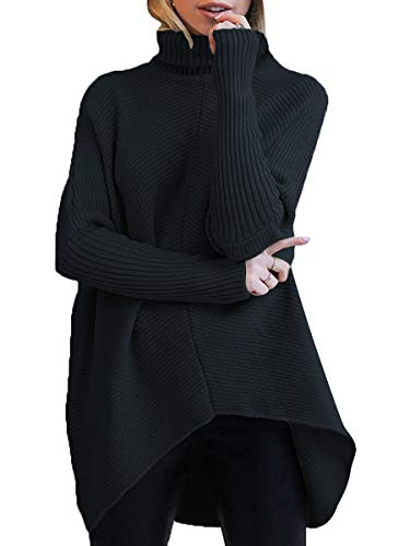 ANRABESS Women's Cowl Neck Batwing Sleeve High Low Hem Oversized Sweater Black Pullover Knit Jumper A87hei-S