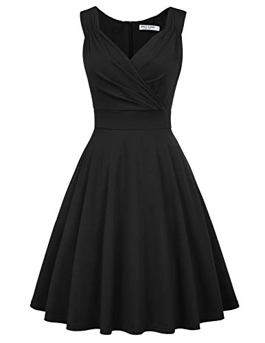 GRACE KARIN Women's Retro V Neck Work Cocktail Swing Party Dress Size S Black
