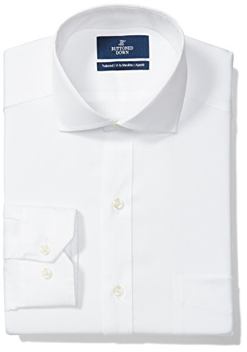Amazon Brand - Buttoned Down Men's Tailored Fit Cutaway-Collar Solid Non-Iron Dress Shirt (Pocket), White, 16.5' Neck 35' Sleeve