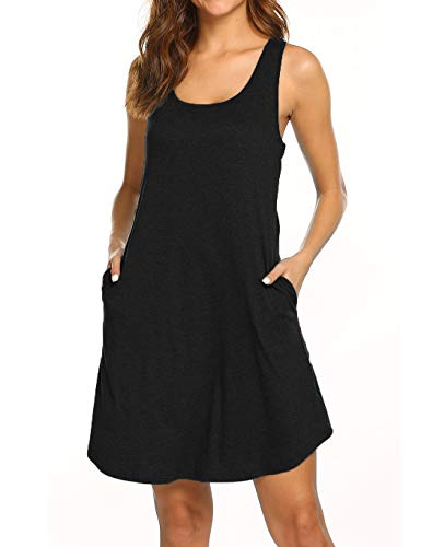 LuckyMore Loose Sundresses for Women Casual Beach Pockets Scoop Neck Racerback Tank Dress Black S