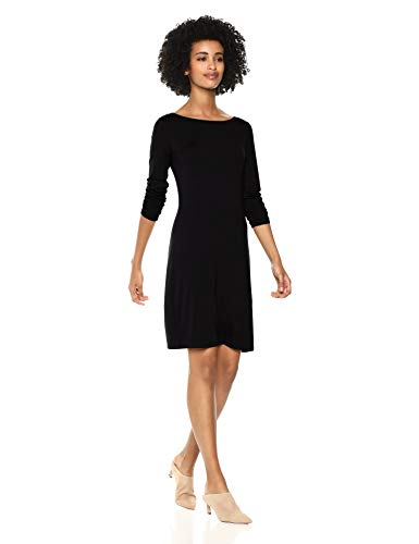 Amazon Brand - Daily Ritual Women's Jersey 3/4-Sleeve Bateau-Neck T-Shirt Dress, Forest Green, X-Small