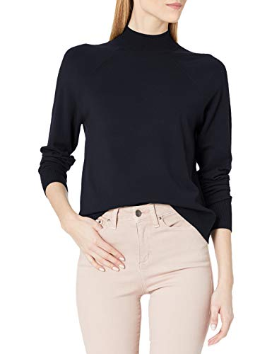 Amazon Brand - Daily Ritual Women's Fine Gauge Stretch Mockneck Pullover Sweater, Navy , XX-Large
