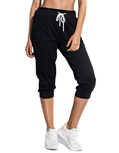 SPECIALMAGIC Women's Sweatpants Cropped Jogger French Terry Running Pants Lounge Loose Fit Drawstring Waist with Side Pockets Black M
