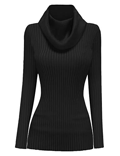 v28 Women Stretchable Cowl Neck Knit Long Sleeve Slim Fit Bodycon Sweater-M,BK