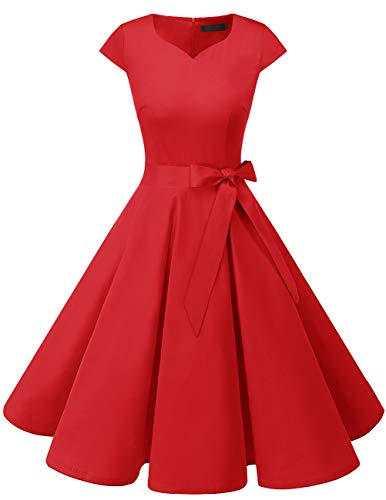 DRESSTELLS 1950's Vintage Inspired Dresses for Women Short Red L