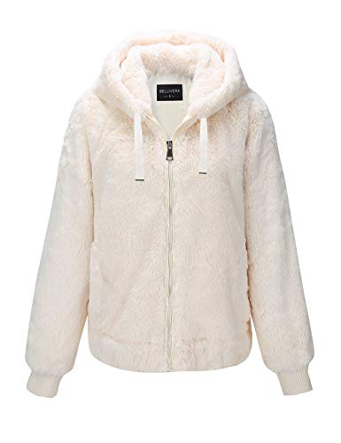 Bellivera Women's Faux Fur Jacket with 2 Side-Seam Pockets, The Coat with Hood 1712014 White M