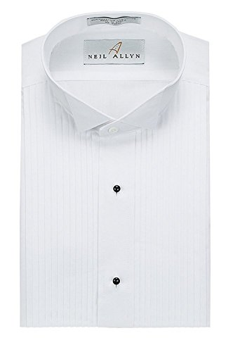 Tuxedo Shirt - Neil Allyn Wing Collar 1/4 Inch Pleat, 65% Polyester/35% Cotton (16.5 - 34/35) WHITE