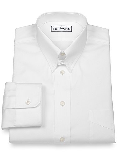 Paul Fredrick Men's Pinpoint Snap Tab Collar Button Cuff Dress Shirt White 17.0/34 115