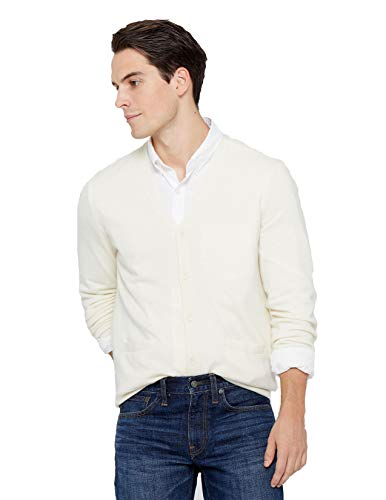 State Cashmere Men's Button Front Cardigan 100% Pure Cashmere Long Sleeve V-Neck Sweater (Small, White)