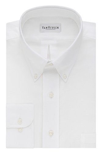 Van Heusen mens Regular Fit Oxford Solid dress shirts, White, 16.5 Neck 34 -35 Sleeve Large US