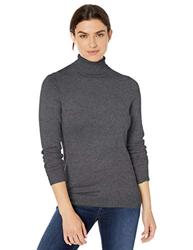 Amazon Essentials Women's Classic Fit Lightweight Long-Sleeve Turtleneck Sweater, Charcoal Heather, Large