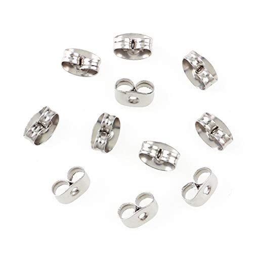 300 Pieces Stainless Steel Butterfly Earring Backs (Silver 6x4.5mm)