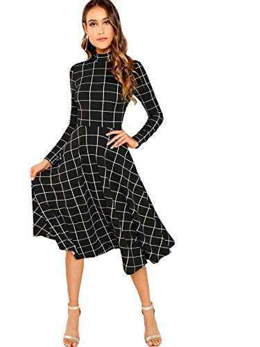Floerns Women's High Neck Plaid Fit and Flare Midi Dress Black White S