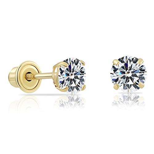 14k Yellow Gold Solitaire Round Cubic Zirconia Stud Earrings in Secure Screw-backs (4mm)