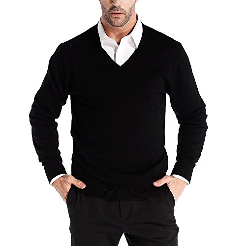 Kallspin Men's Cashmere Wool Blended V-Neck Sweater Pullovers Relaxed Fit Knitted Long Sleeve Sweaters (X-Large, Black)