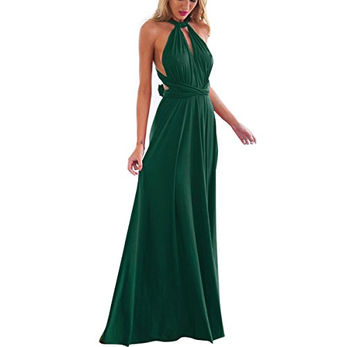Women's Transformer Convertible Multi Way Wrap Long Prom Maxi Dress V-Neck Hight Low Wedding Bridesmaid Evening Party Grecian Dresses Boho Backless Halter Formal Cocktail Dance Gown Green X-Large