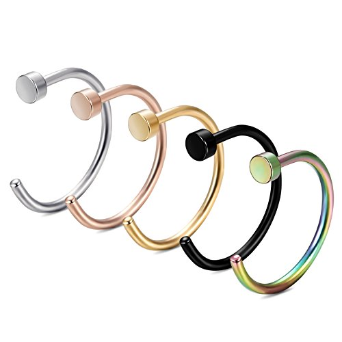 FIBO STEEL 18-20G Stainless Steel Body Jewelry Piercing Nose Ring Hoop 5PCS
