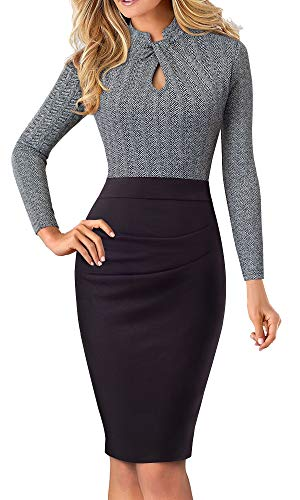 HOMEYEE Women's Short Sleeve Business Church Dress B430 (4, Gray+Long Sleeve)