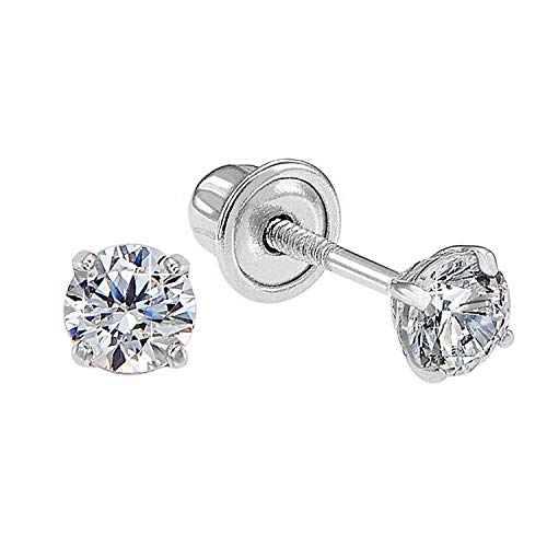 14k White Gold Solitaire Round Cubic Zirconia CZ Stud Earrings in Secure Screw-backs (3mm)