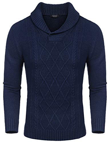 COOFANDY Men's Shawl Collar Sweaters V-Neck Cotton Relaxed Fit Cable Pullover Navy Blue