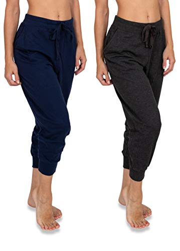 Sexy Basics Women's 2 Pack Soft French Terry Fleece Casual/Active Capri Jogger Sweatpants (2 Pack- Navy/Charcoal, Small)