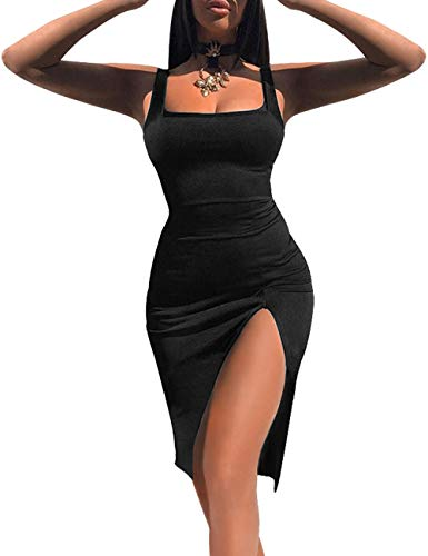 Women High Split Tank Dress Sexy Scoop Neck Sleeveless Club Bodycon Dress Black S