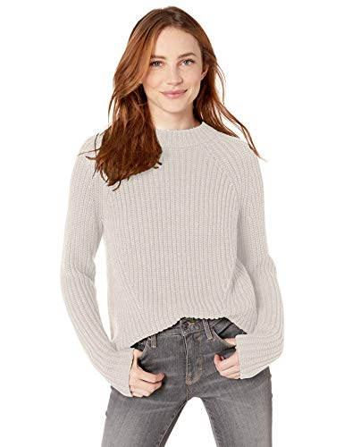 Amazon Brand - Goodthreads Women's Relaxed Fit Cotton Shaker Stitch Mock Neck Sweater, Off- Off-White Marl , Large