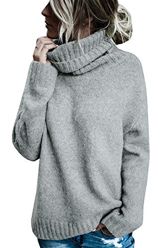 FISACE Womens Solid Round Neck Oversized Turtleneck Full Sleeve Knitted Sweater Pullover Gray
