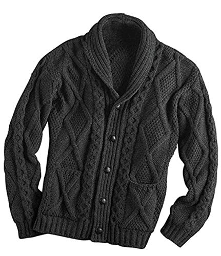 100% Irish Merino Wool Aran Button Cardigan – Fast delivery from Ireland (Extra Large, Charcoal)