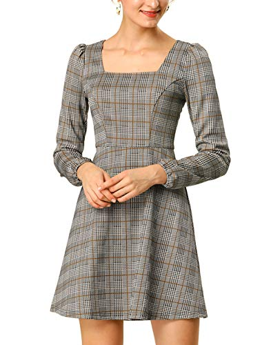 Allegra K Women's Spring Summer Square Neck Elegant Long Sleeves Plaid Dress M Brown