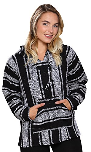 Classic Mexican Baja Hoodie Pullover Poncho (Black & White L)