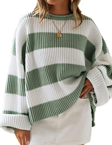 ZESICA Women's Long Sleeve Crew Neck Striped Color Block Comfy Loose Oversized Knitted Pullover Sweater Green