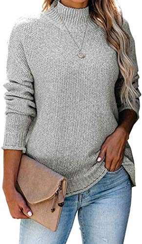 Womens Fall Fashion Batwing Long Sleeve Mock Neck Sweater Solid Grey Junior Chunky Oversized Turtleneck Knitted Sweaters Loose Pullover Jumper Tops Grey Small