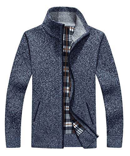 Vcansion Men's Classic Slim Soft Thick Knitted Cardigan Sweaters Long Sleeve Full Zip Blue Grey M