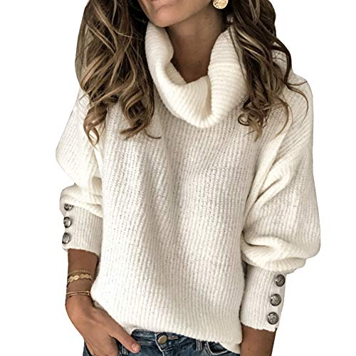 Sovelen Women's Oversized Turtleneck Chunky Pullover Sweaters Cowl Neck Long Sleeve Winter Slouchy Loose Knit Sweaters White