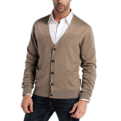 Kallspin Men's Cashmere Wool Blended Cardigan Sweater Relax Fit V-Neck Knitted Sweaters with Buttons & Pockets Coffee Medium