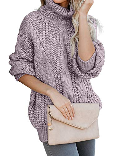 Chase Secret Womens Casual Turtleneck Long Sleeve Loose Chunky Knit Pullover Sweater M Purple
