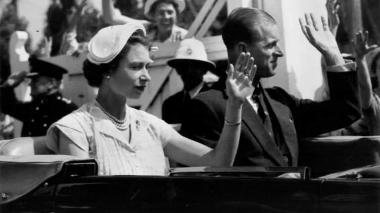 Queen Elizabeth the Second wearing a half hat.