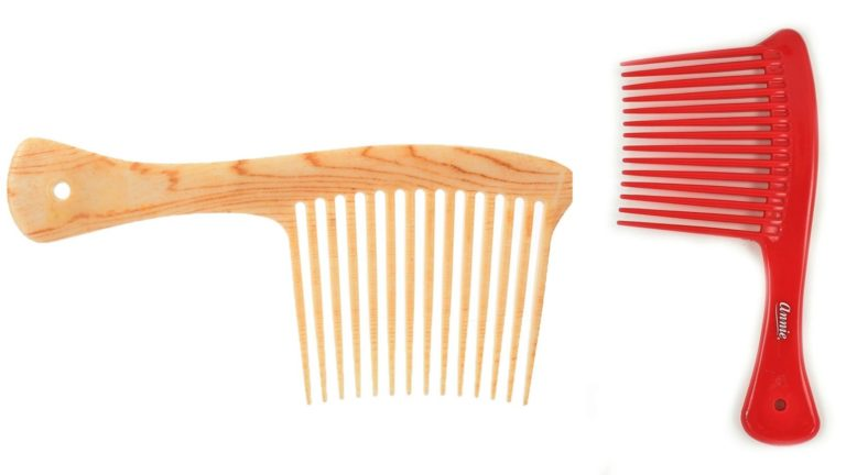 Two rake combs. One brown and one red.